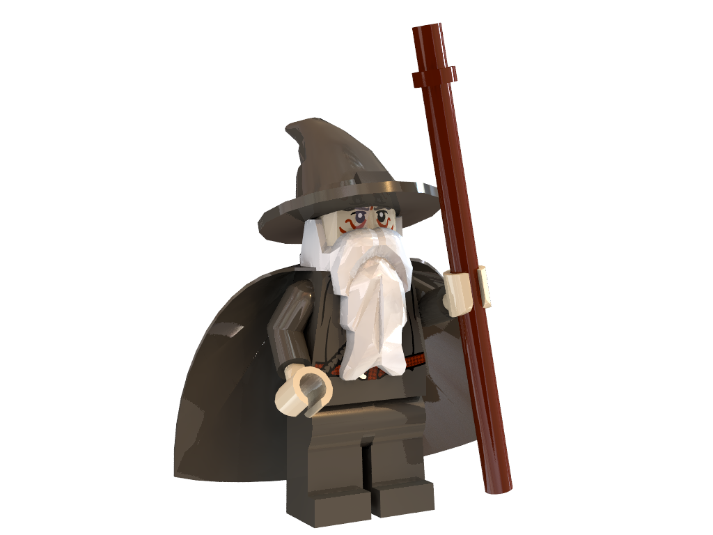 3d models of a gandalf minifigure 3d formats include dxf obj 3ds ...
