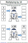 R2-D2 is multiplying numbers by 10. Can you fill in the missing ...